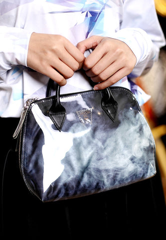 Smoky Black & White Duffle Shoulder Bag