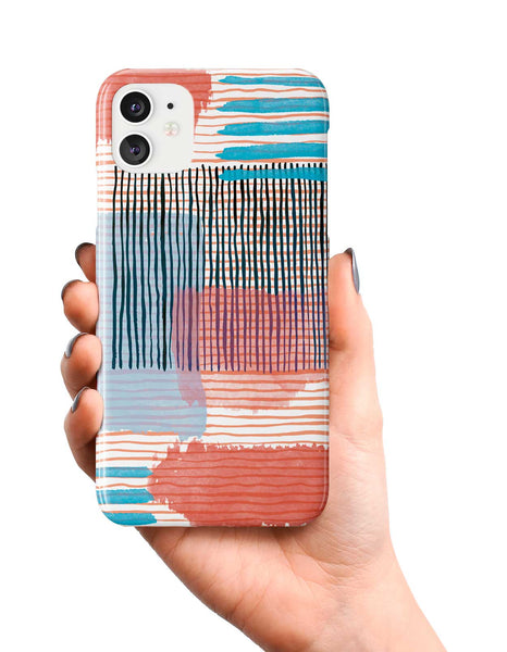Ninola Design Abstract Striped Geo Red Phone Case