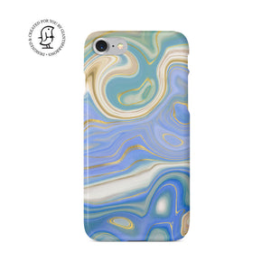 Agate Stone Blue/Green/Gold Design Phone Case