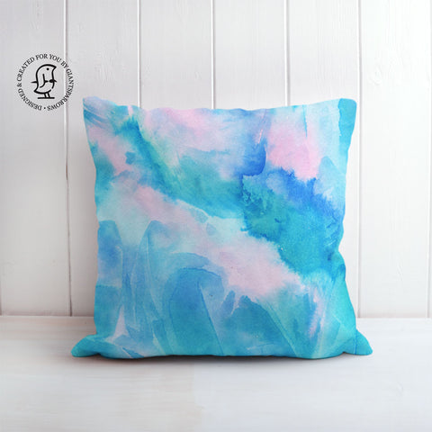 Arctic Space No. 2 Design Cushion - Green/Blue & Pink