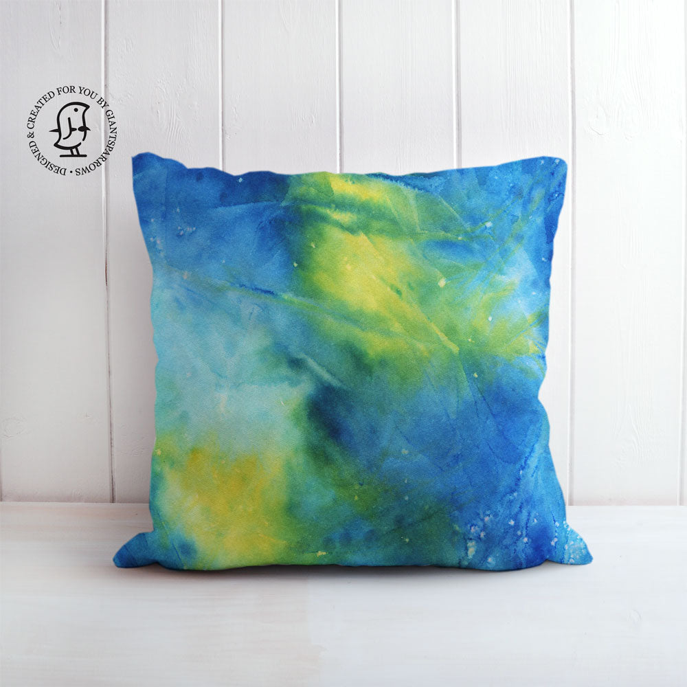 Arctic Space No. 3 Design Cushion - Blue & Yellow