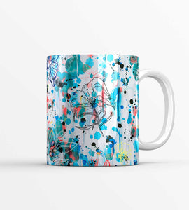 Blue Graffiti Flowers Mug