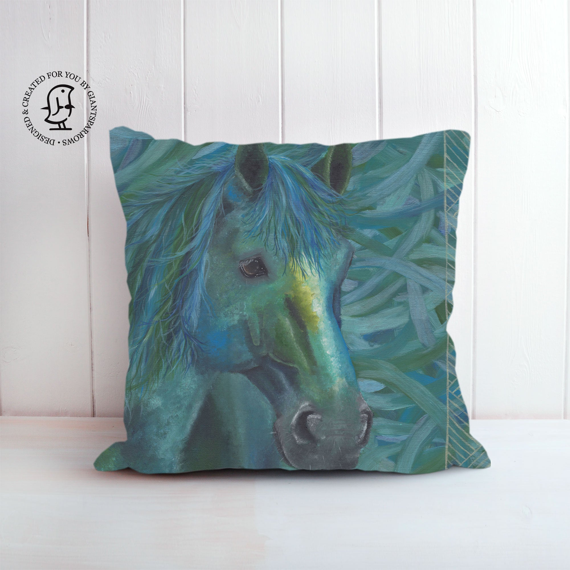 "Tayla Hanks Art Cushion - ""Blue Mare"""