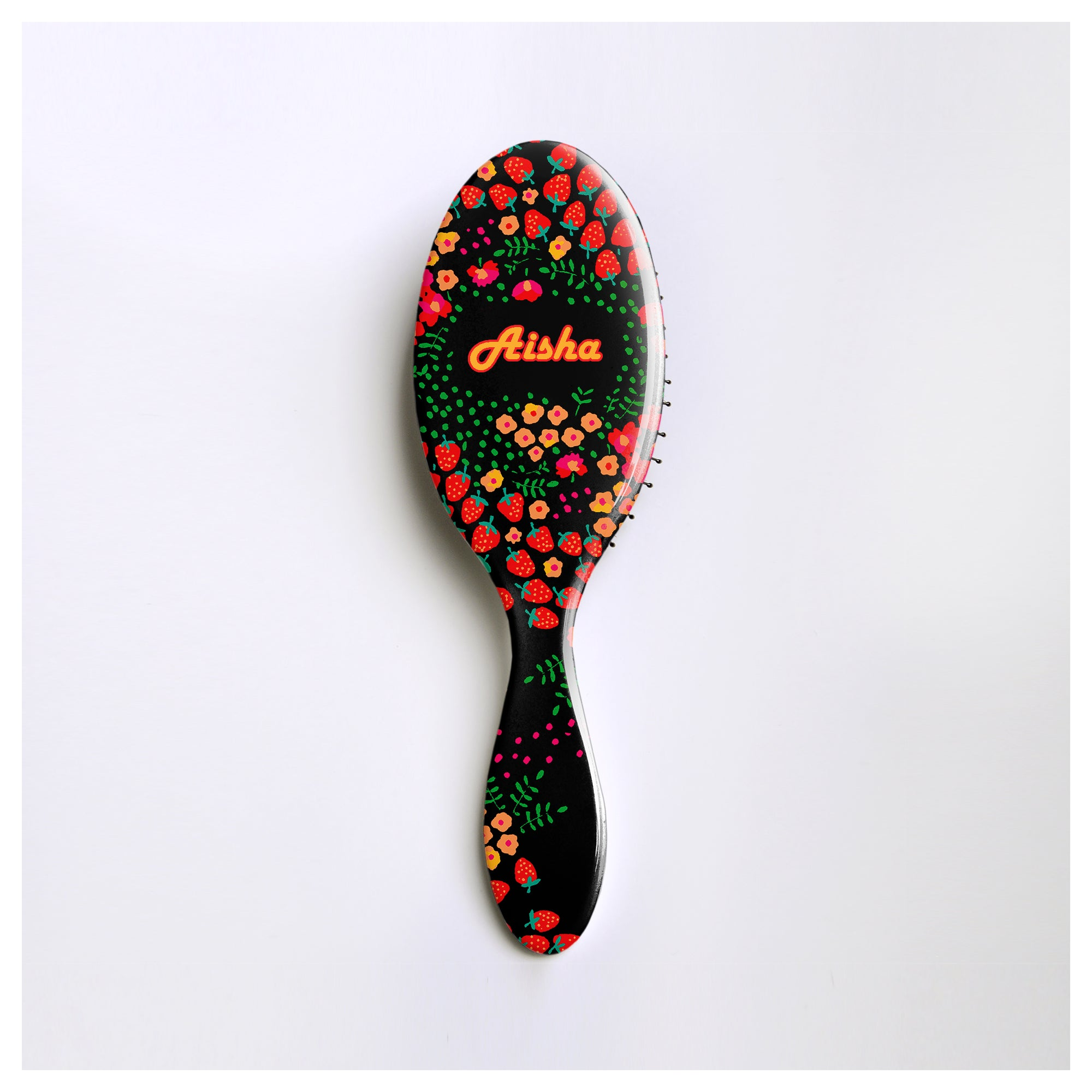 Hair Brush Personalised - Cute Strawberry Design - Anja Jane Folk Art