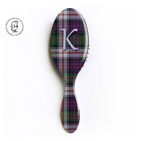MacDonald Dress Clan Tartan - Personalised Monogram Hair Brush