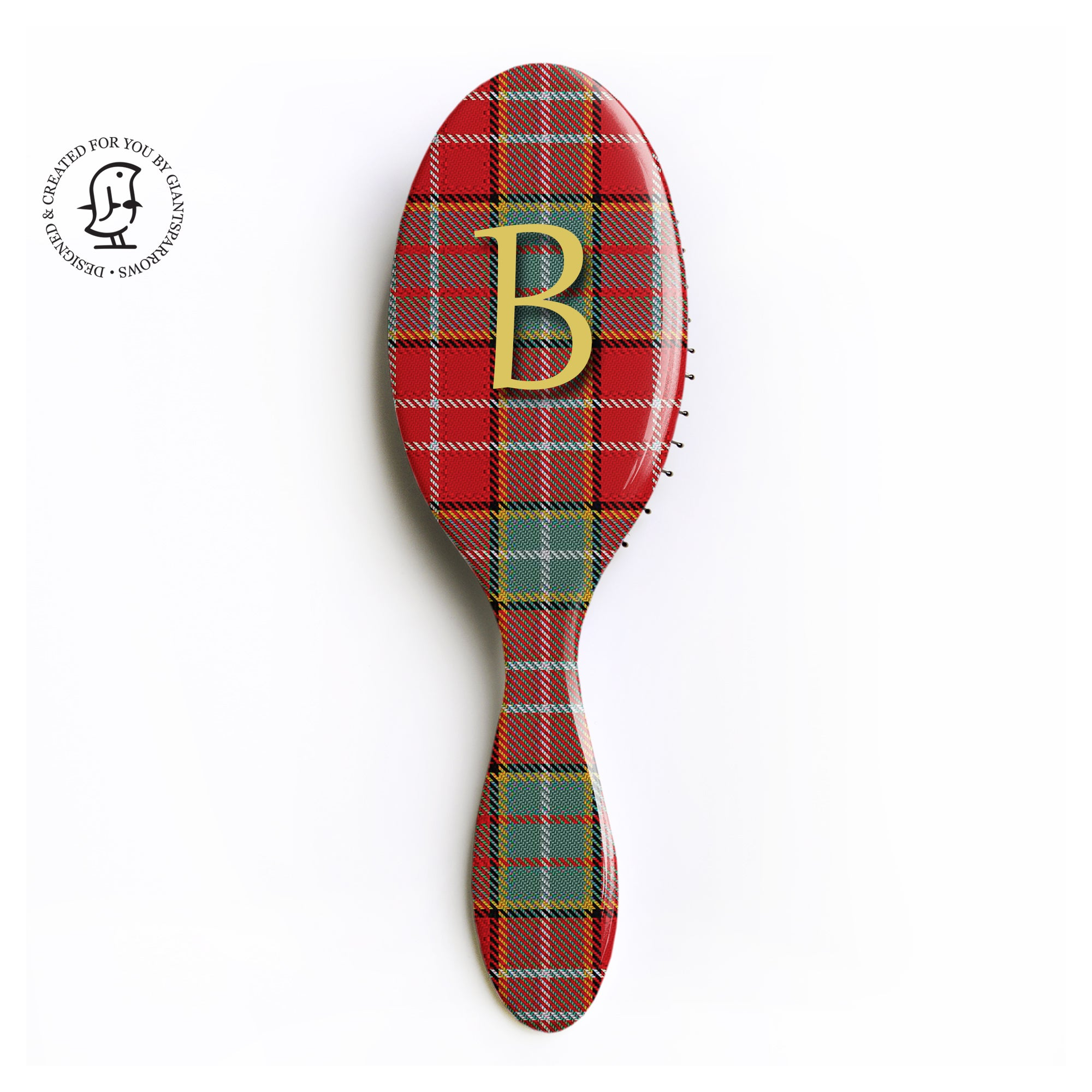 Personalised Ogilvie Tartan Hair Brush - Monogram Gift - Scottish Design