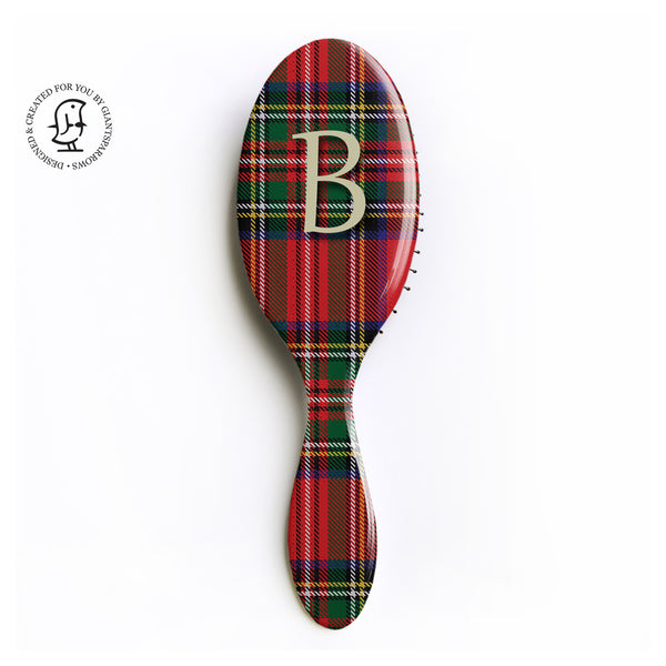 Royal Stewart Clan Tartan Monogram Hairbrush - Personalised Gift