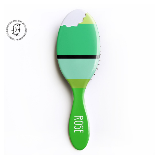 Personalised Hair Brush - Lime Green - Novelty Leaf Bite - Children's Gift