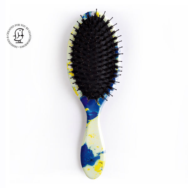 Hair Brush - Bright Yellow & Blue Marbled Design