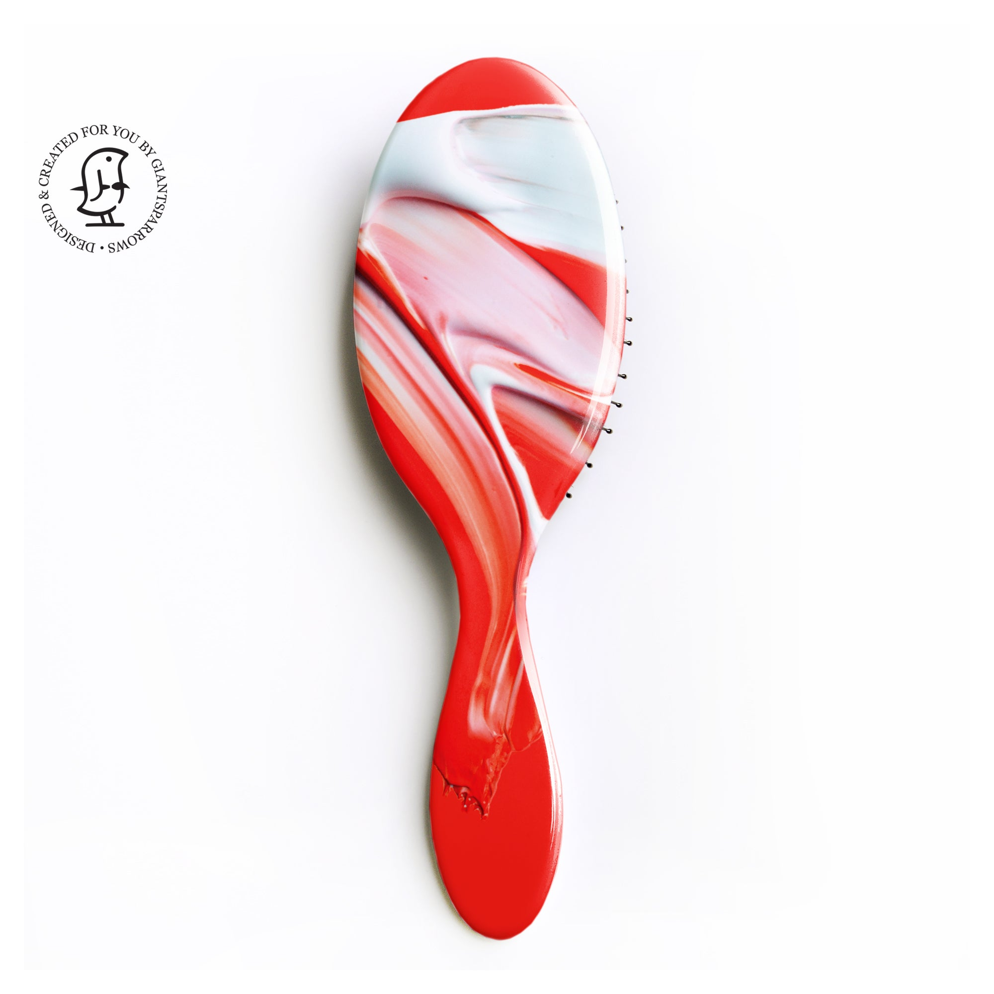 Personalised Hair Brush - Bold Red Paint Swirl Design