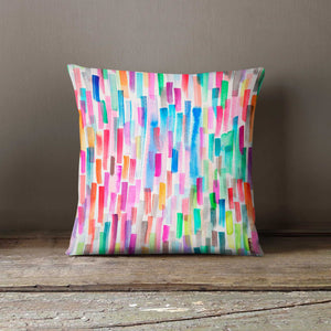 Ninola Design Watercolour Rainbow Brushstrokes Cushion