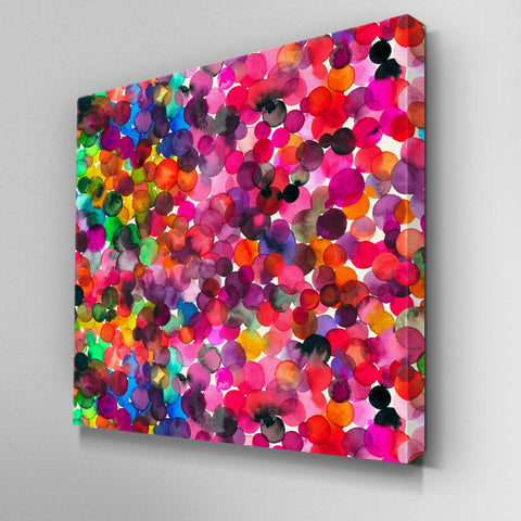 Overlapped Watercolor Dots Canvas Picture