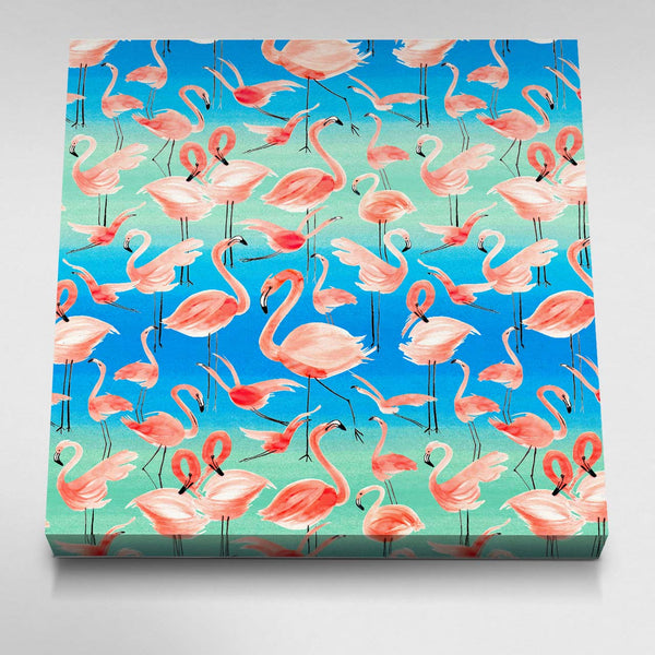 Watercolor Pink Flamingos Canvas Picture