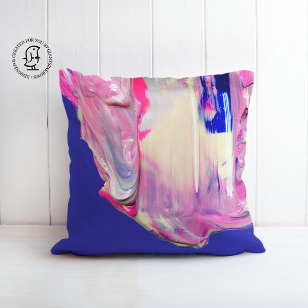 Lush and Rich Mix of Bright Blue and Pink Paints Design Cushion