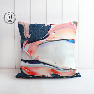 Lush and Rich Mix of Blue and Pink and White Paints Design Cushion
