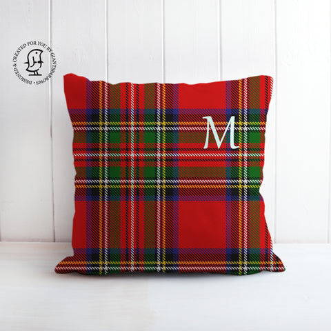 Tartan Cushion that can be Personalised with a Monogram Letter. Royal Stewart Clan