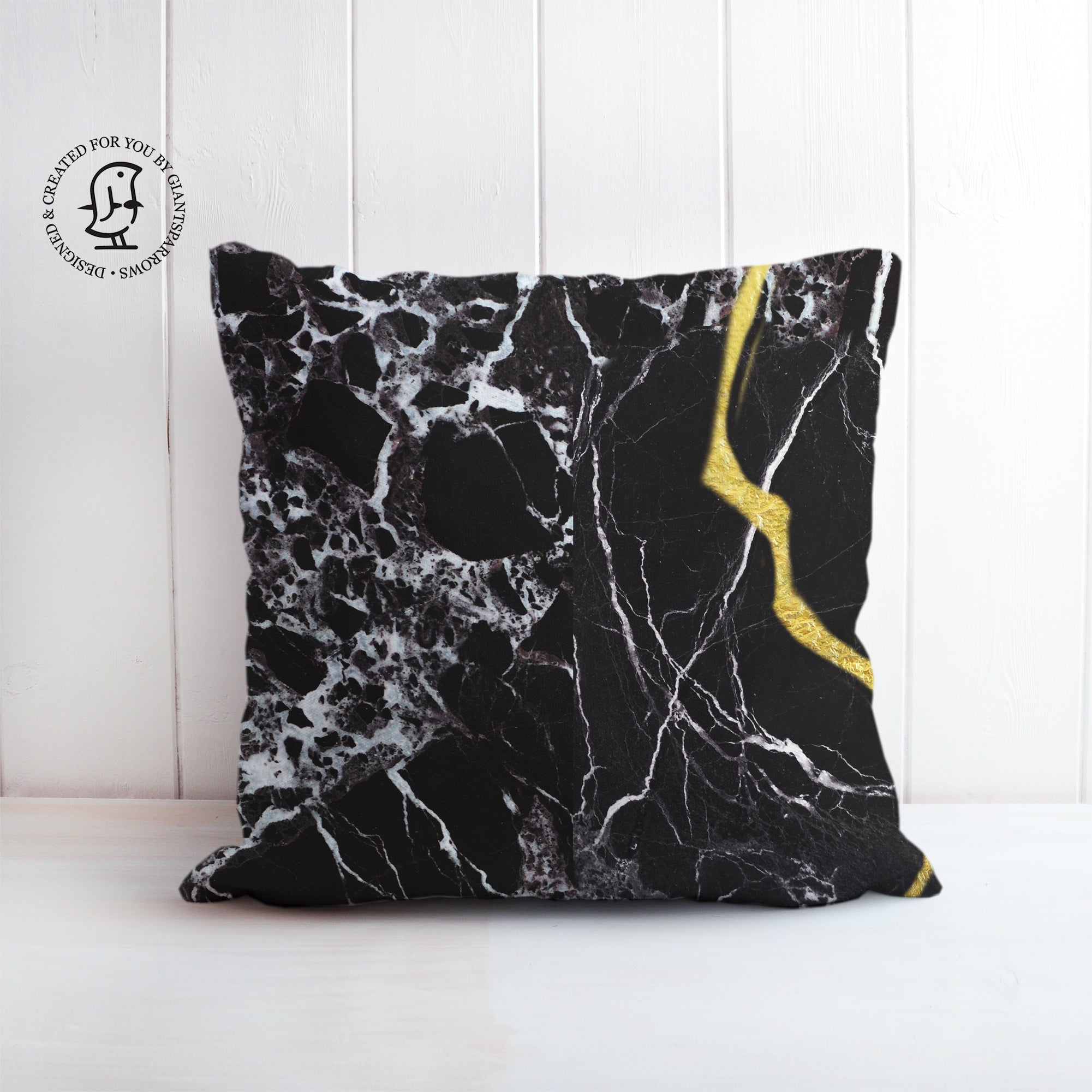 Black Marble with Gold Details - Inspired by the Art of Kintsugi Cushion