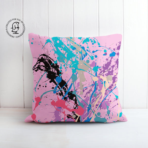 Pink, Turquoise and Purple Paint Splat Design Cushion