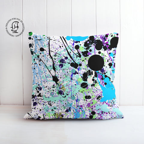 Blue, Black and White Paint Splatter Design - Vibrant Colours Cushion