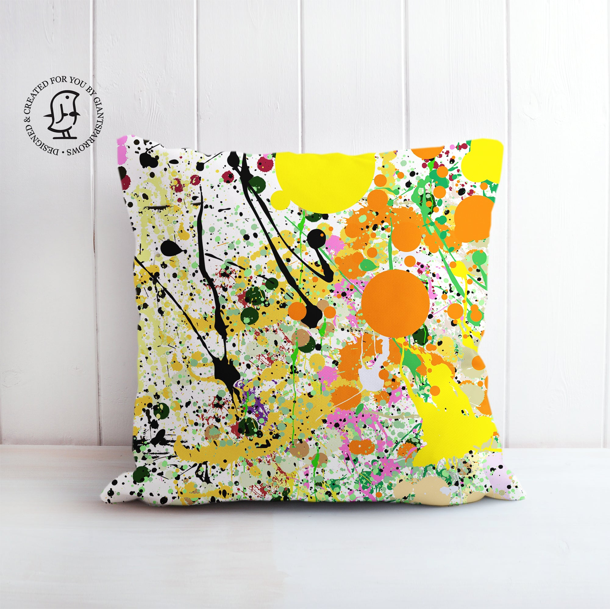 Orange, Black and Yellow Paint Splat Cushion