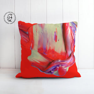 Lush and Rich Mix of Bright Red and Purple Paints Design Cushion