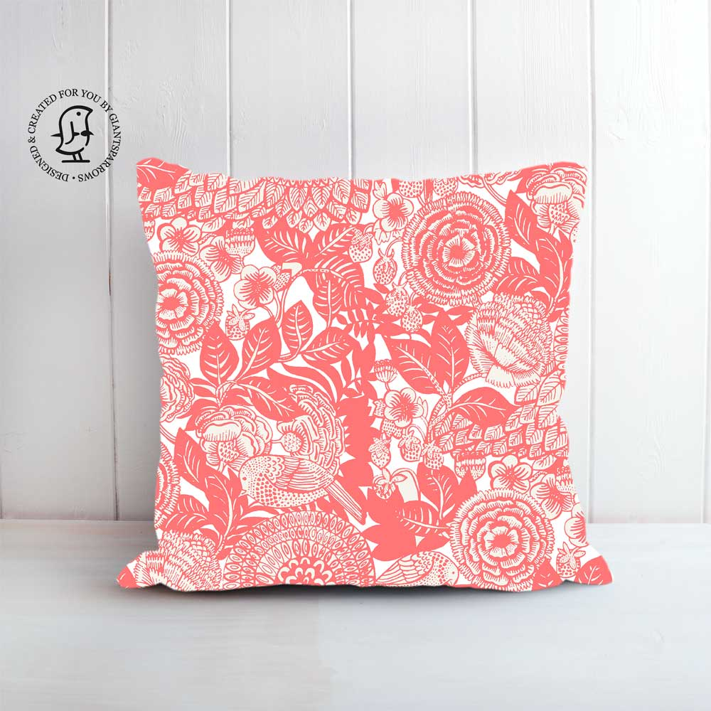 "Anja Jane Design Cushion - ""Between Strawberry Fields"" Pink"