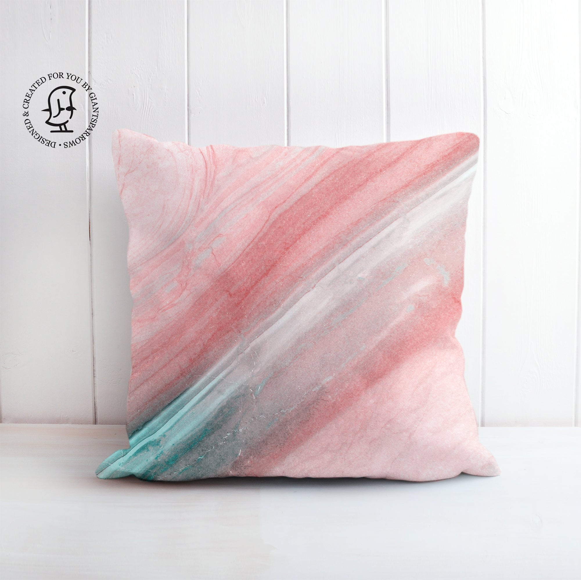 Rose Pink and Mint Green Marble Design Cushion