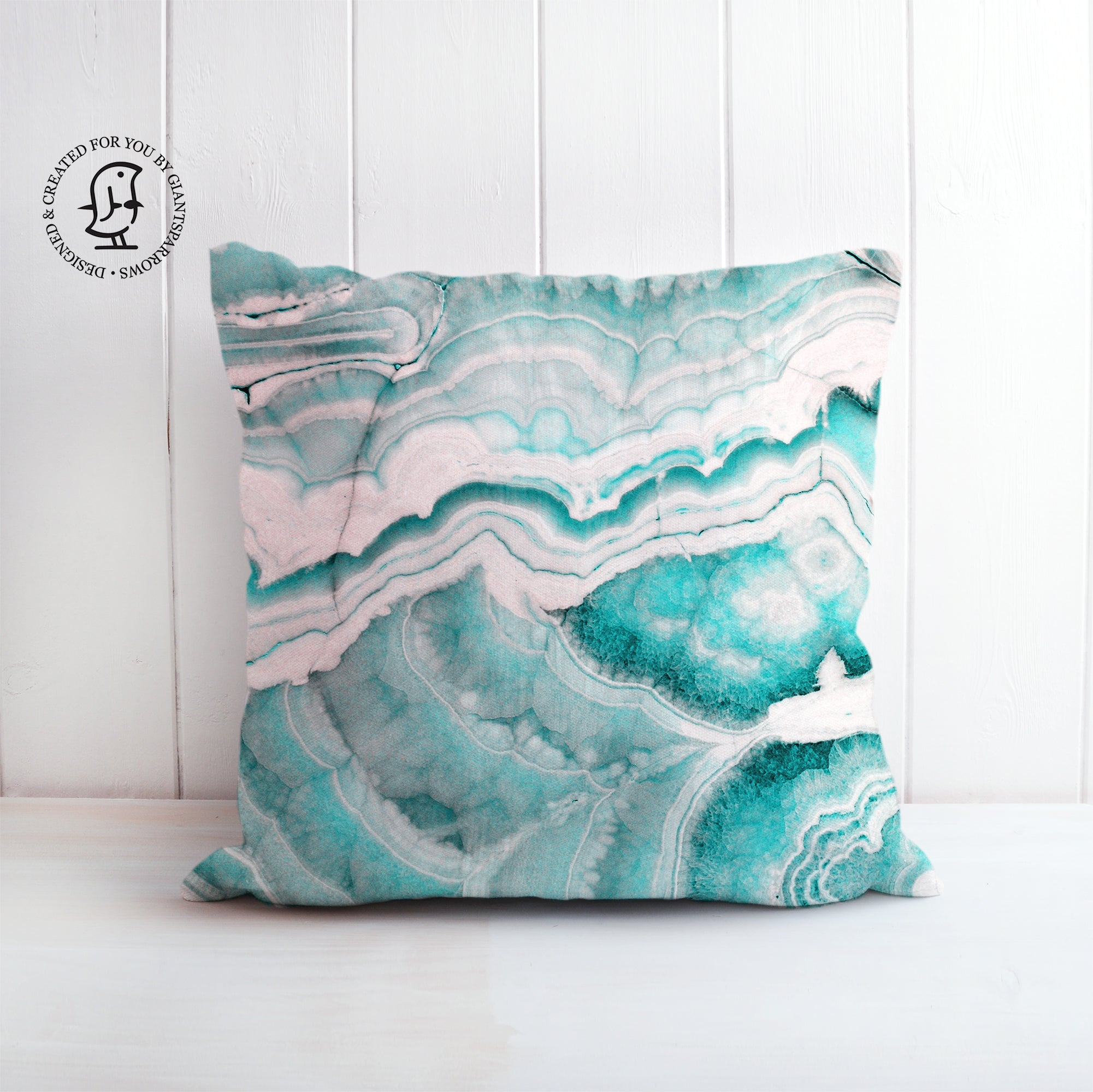 Turquoise and Rose Gold Marble Design Cushion