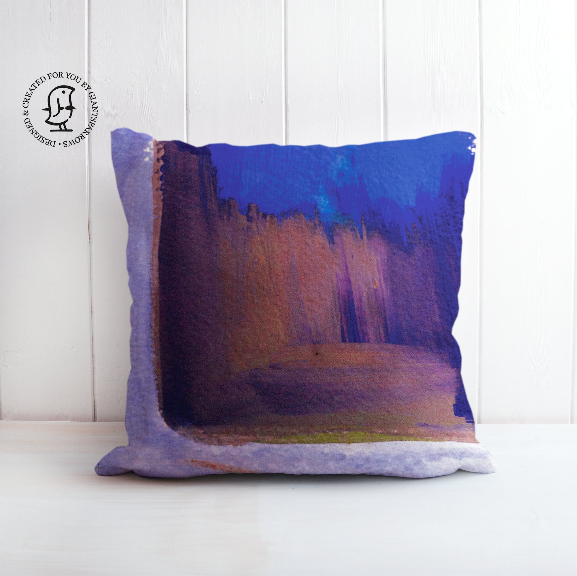 Blue and Brown Watercolour Painting - Mark Rohko inspired Cushion