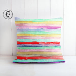 Water Colour Stripes in Pink, Purple, Red and Green Cushion