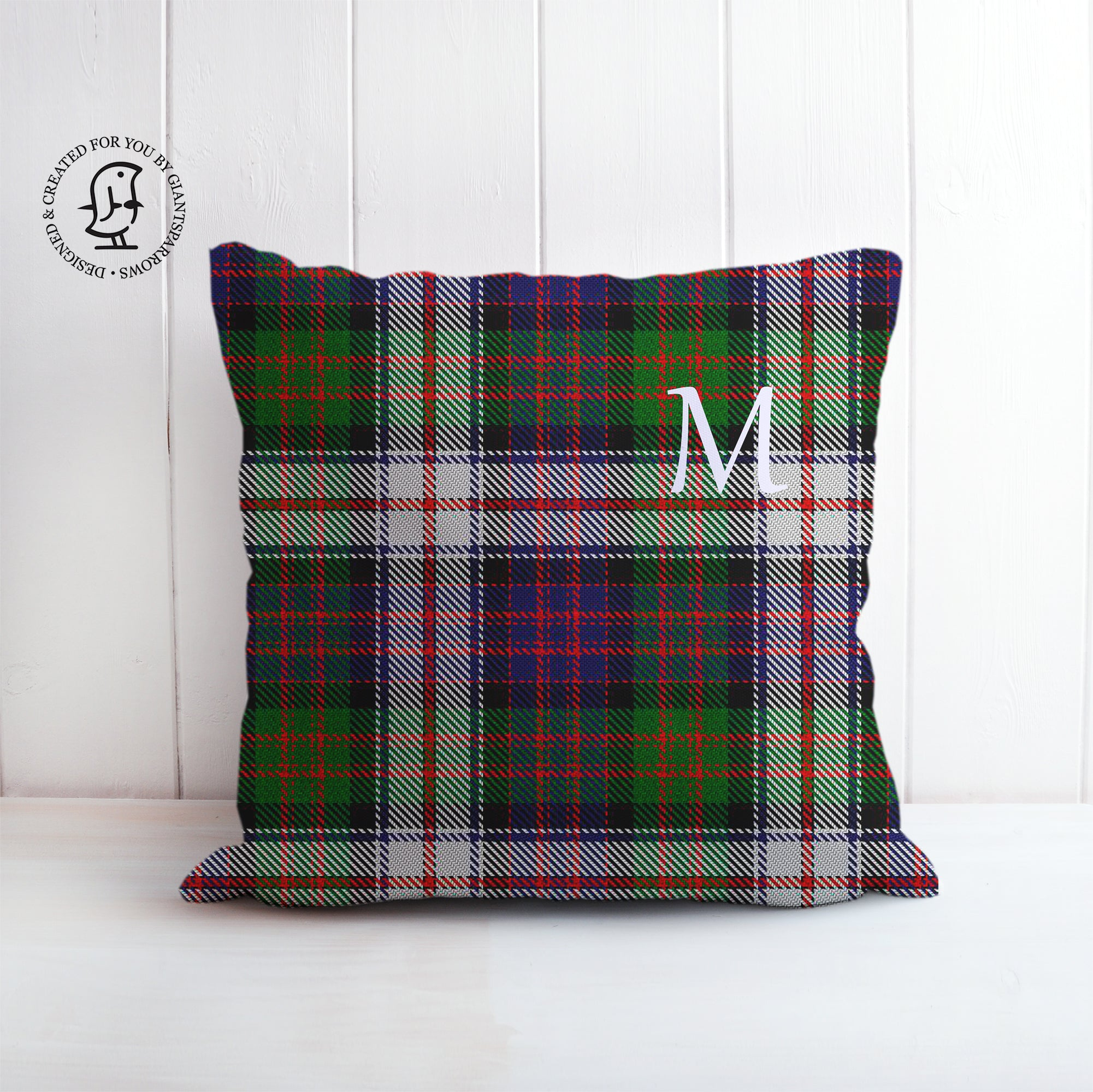 Tartan Cushion that can be Personalised with a Monogram Letter.  MacDonald Dress Clan