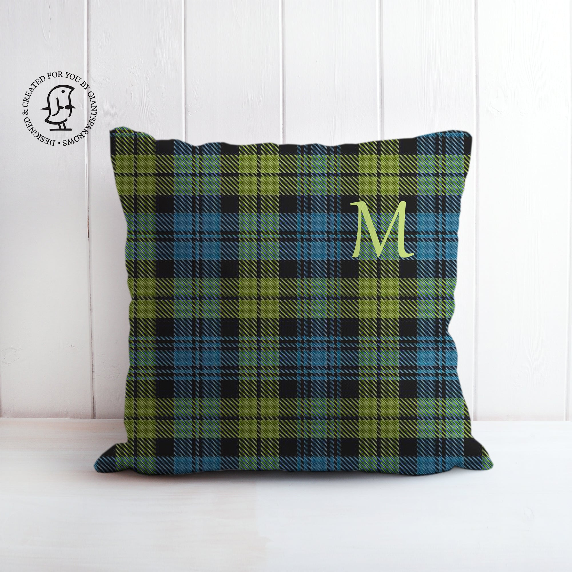 Tartan Cushion that can be Personalised with a Monogram Letter. Campbell Clan