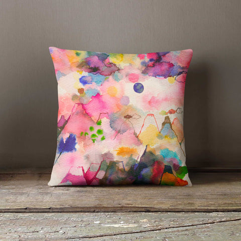 Ninola Design Watercolour Whimsical Mountain Landscape Cushion