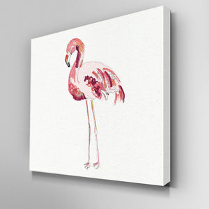 Illustrated Flamingo Canvas Picture