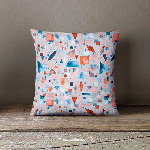 Ninola Design Watercolour Geometric Shapes Cushion