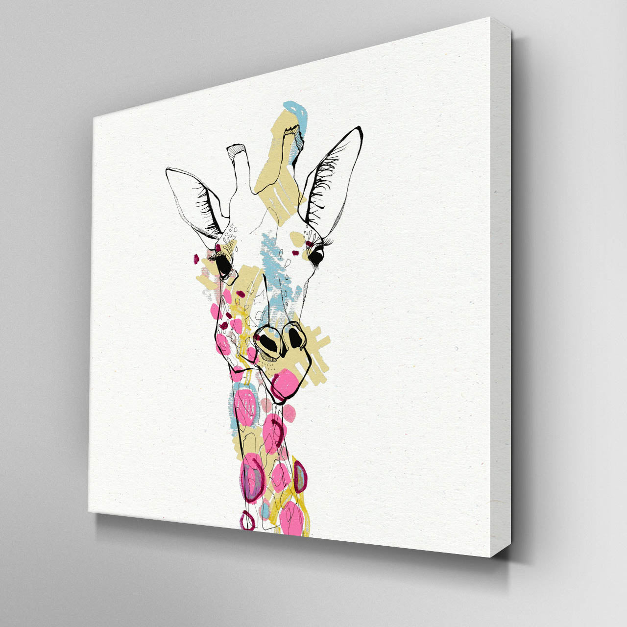 Illustrated Giraffe Canvas Picture