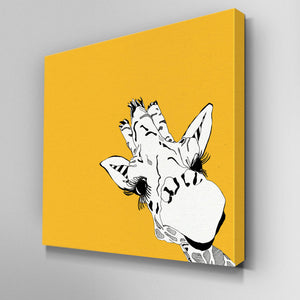 Illustrated Yellow Giraffe Canvas Picture