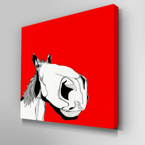 Illustrated Big Face Horse Canvas Picture