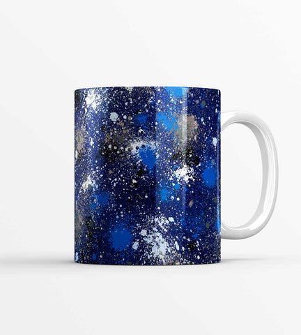 Blue Night Ink Splatter Mug