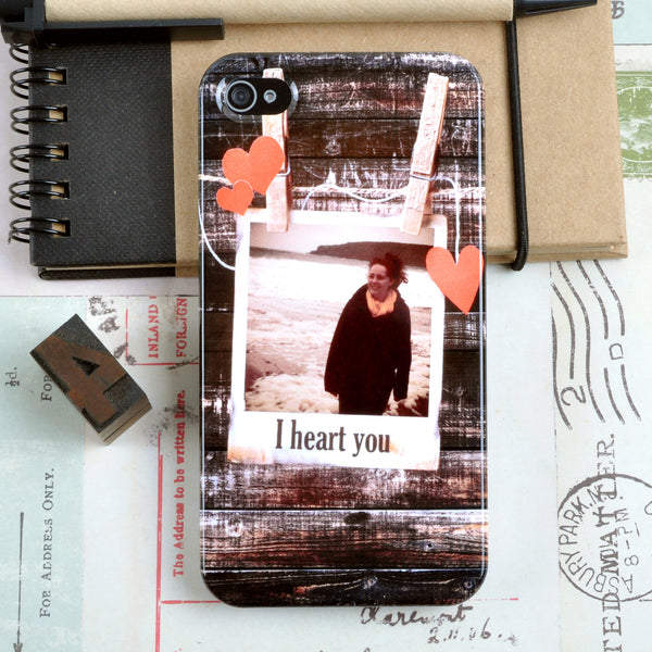 Personalised Photograph Case with hearts for iPhone 4/4S