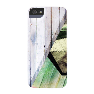 Geometric Green Wood Phone Case