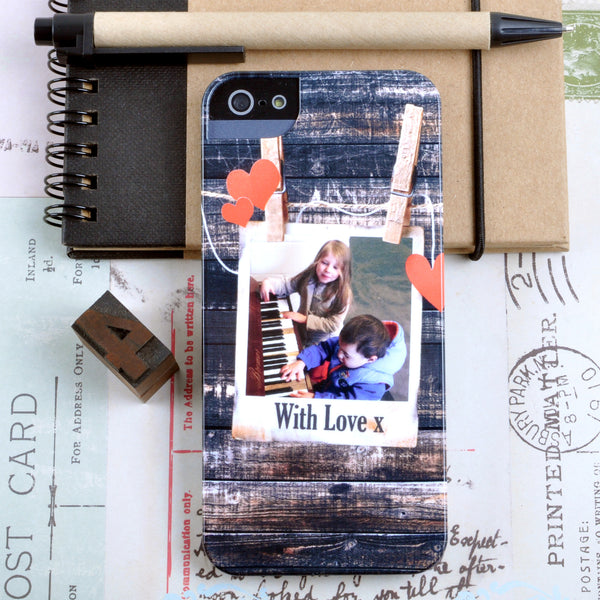 Personalised Photograph Case with hearts for iPhone 5/5S
