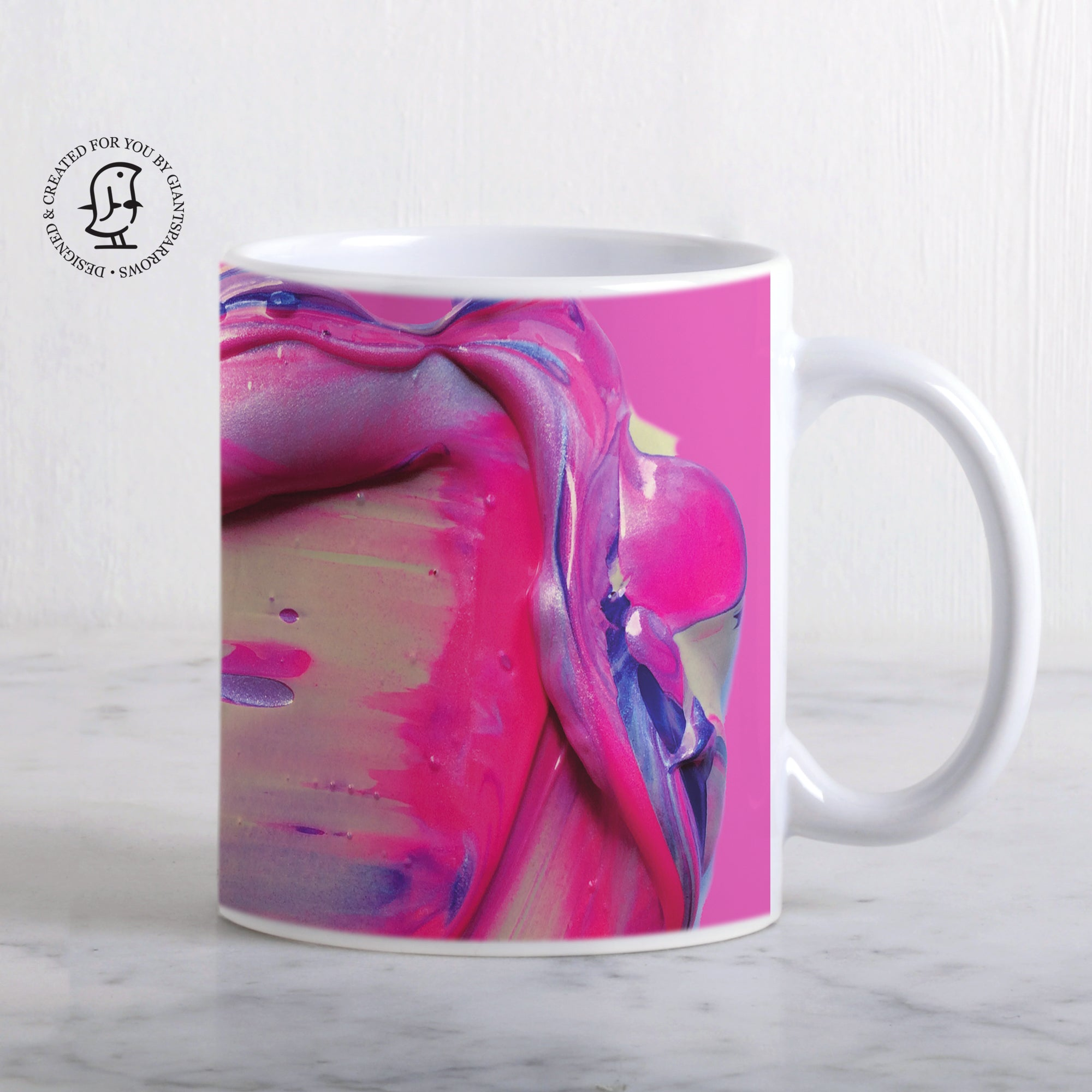 Lush and Rich Mix of Bright Pink and Purple Paints Design Mug