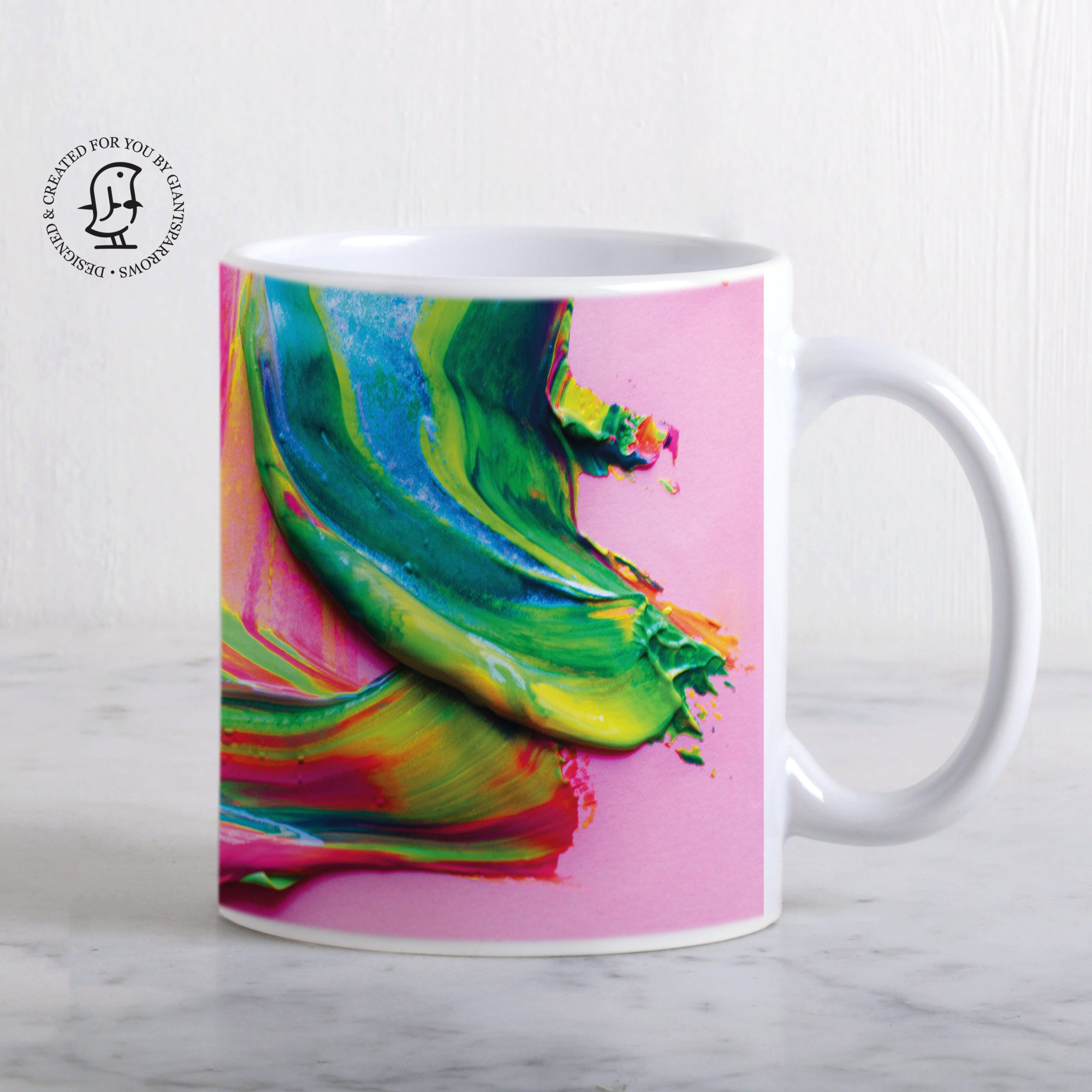 Green, Yellow & Pink Paint Splat Design Mug