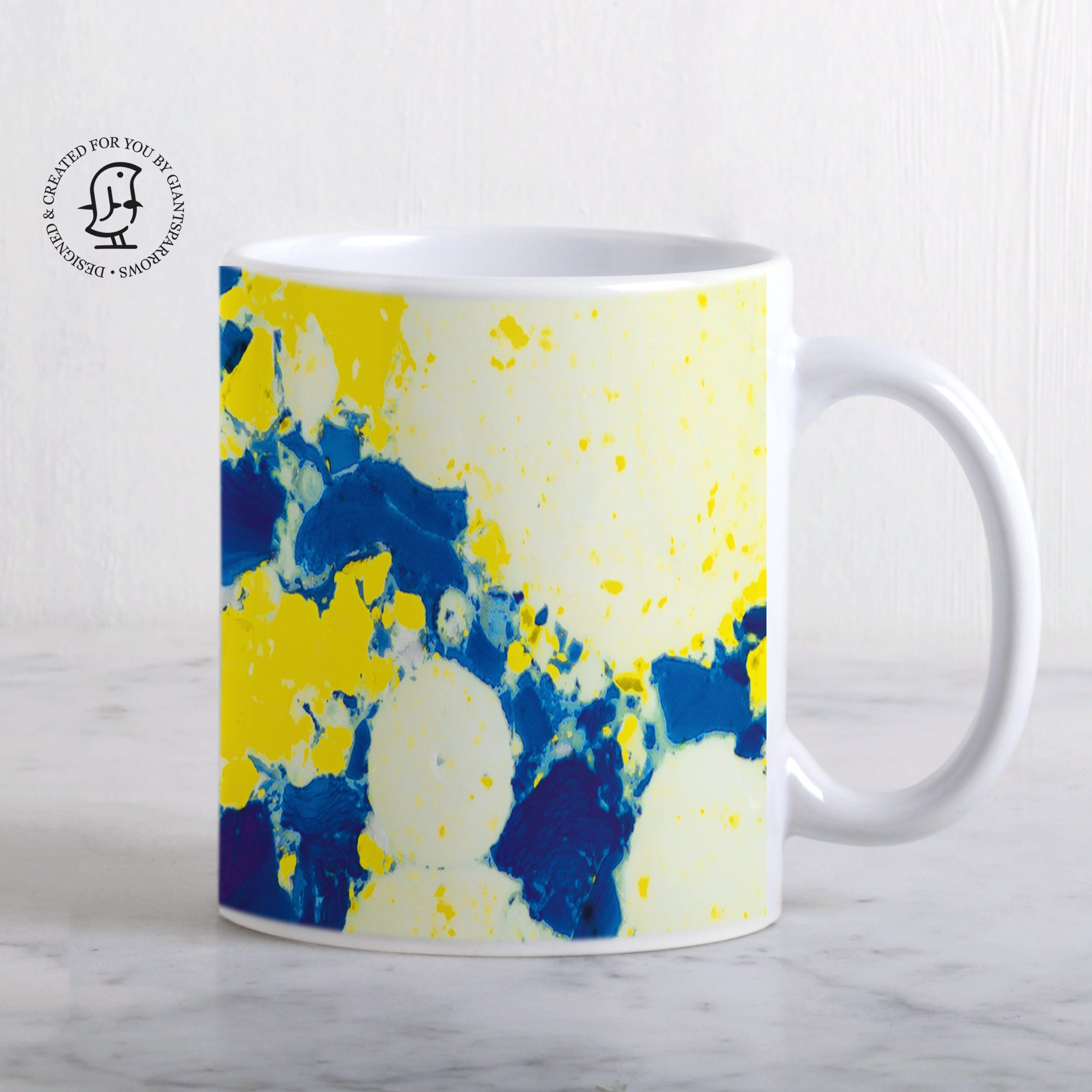 Yellow & Blue Marbled Design Mug