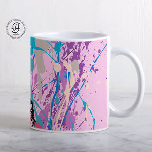 Pink, Turquoise and Purple Paint Splatter Design Mug