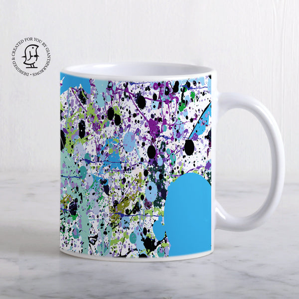 Blue & Black Paint Splatter Design Mug