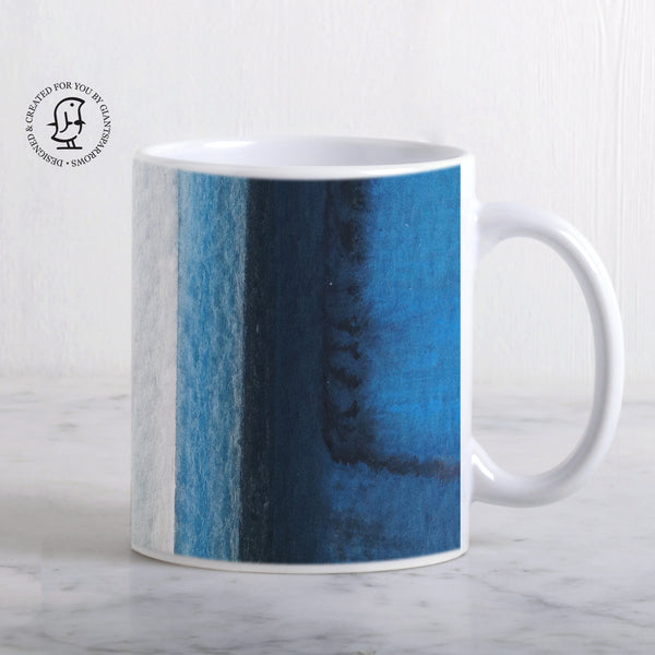 Blue, Brown and Grey Watercolour Stripes Design Mug
