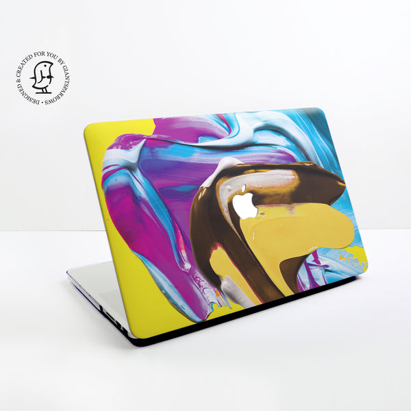 Lush Blue, Yellow and Purple Mix Paints Design Hard Protective Case for all MacBooks