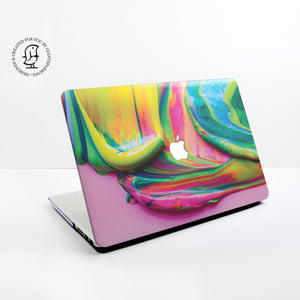 Paint Swirl with Mix of Yellow, Pink & Green Paints Design Hard Protective Case for all MacBooks